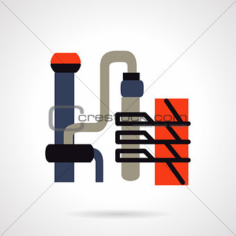 Oil refinery plant flat vector icon