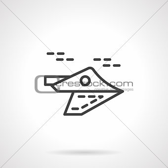 Black line aeroplane vector icon.