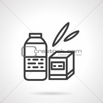 Baby food black line vector icon
