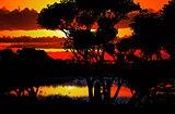 Sunset over beautiful lake region