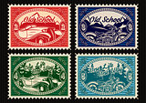 set of stamps with the car and motorbike