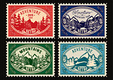 stamps with fir forest and mountains