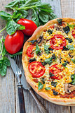 Pizza with mushrooms, tomatoes and basil.
