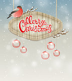 Christmas background with bullfinch