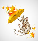 Mouse flying under the umbrella