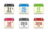 Vector calendar icons set for holidays