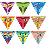 Nine cute owl faces in triangle shapes