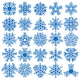 Set of 25 vector snowflakes
