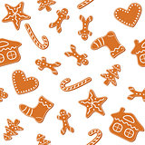 Christmas gingerbread cookies seamless