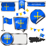 Glossy icons with flag of Asturias