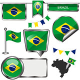 Glossy icons with flag of Brazil