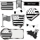 Glossy icons with flag of Brittany