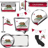 Glossy icons with flag of California