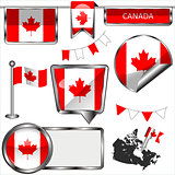 Glossy icons with flag of Canada