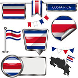 Glossy icons with flag of Costa Rica