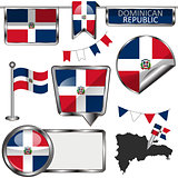 Glossy icons with flag of Dominican Republic