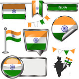 Glossy icons with flag of India