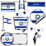 Glossy icons with flag of Israel
