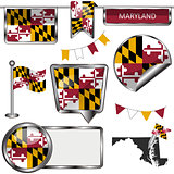Glossy icons with flag of Maryland
