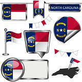 Glossy icons with flag of North Carolina