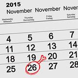 November 26, 2015 Thanksgiving Day. Chicken leg symbol on calendar