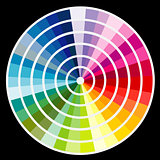 Color round palette on black background