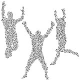 Dots silhouettes of men jumping