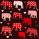 Seamless background with elephants and hearts