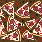 Seamless pattern with slices of salami pizza