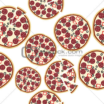 Sliced fresh salami pizza, seamless background