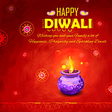 Happy Diwali background coloful watercolor diya