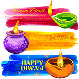 Happy Diwali banner coloful watercolor diya
