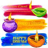 Happy Diwali banner coloful watercolor diya