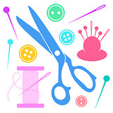Colorful sewing icons collection