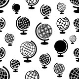 Seamless vector pattern with globes