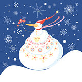 Christmas greeting card with snowman