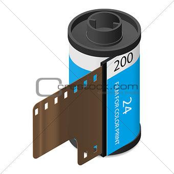 Camera film isometric icon