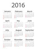 Vector modern and simple calendar 2016