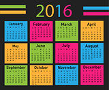 Vector modern and simple calendar 2016