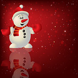 Abstract Christmas red background with snowman