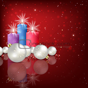 Abstract background with Christmas decorations and candle