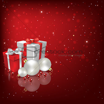 Abstract background with Christmas decorations and gifts