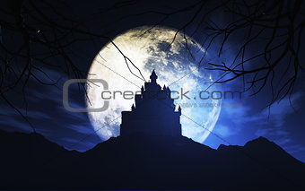 3D spooky castle against a moonlit sky