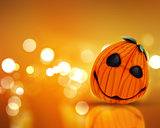 3D Halloween background with pumpkin