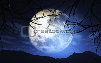 3D landscape with moonlit sky
