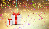 Christmas gifts on confetti background