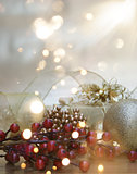 Christmas background with gift and decorations and bokeh lights