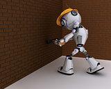 Robot builder with a sledgehammer