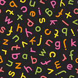 Hand Drawn Lowercase Letters Seamless Pattern Colorful