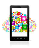 Cloud computing symbol in smartphone